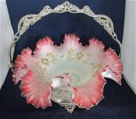 Gorgeous Victorian art glass brides basket