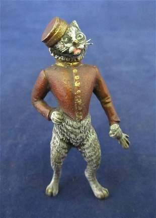 Vintage miniature Vienna Austria bronze cat bell hop