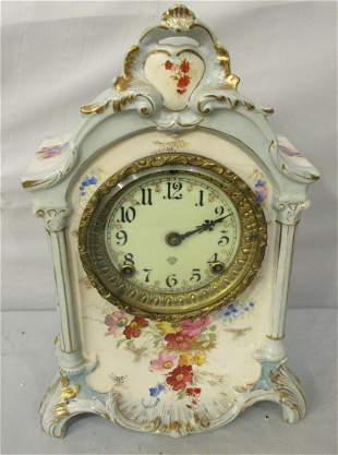 Pretty Ansonia decorated china case clock. Royal Bonn