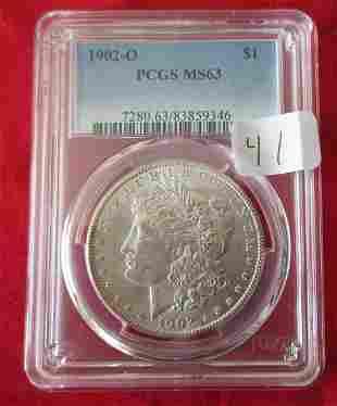 1902 MS63 PCGS graded Morgan silver dollar.