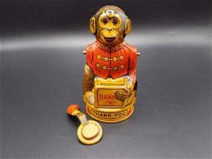 Splendid vintage J Chein tin toy Monkey bank