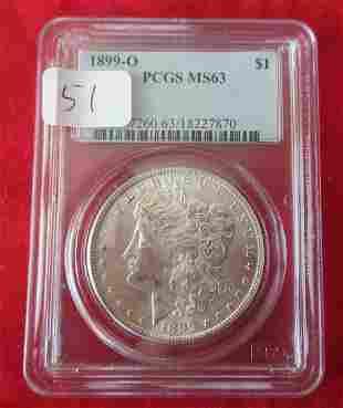 1899 O MS63 PCGS graded Morgan silver dollar.