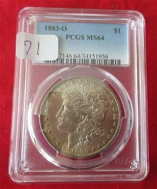 1883 O MS63 PCGS graded Morgan silver dollar.