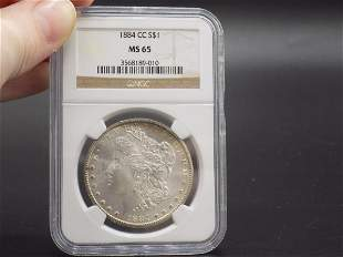 1884 CC MS65 PCGS GRADED Morgan silver dollar