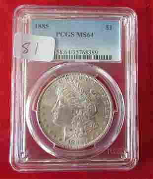 1885 MS64 PCGS graded Morgan silver dollar