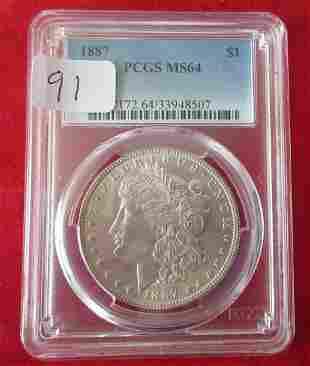 1887 MS64 PCGS graded Morgan silver dollar.