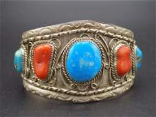 Fine Vintage Native American Indian turquois & coral