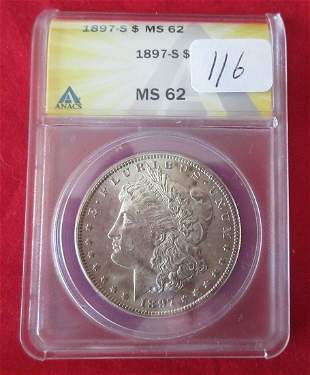 1897 S MS62 ANAC graded Morgan silver dollar
