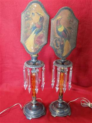 Exquisite Pair of Signed Pairpoint hand painted Lamps