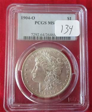 1904 MS64 PCGS graded Morgan silver dollar