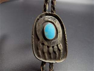Vintage Native American Indian turquois Bolo tie