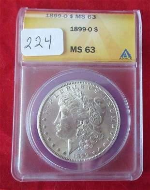 1899 O MS63 ANAC graded Morgan silver dollar