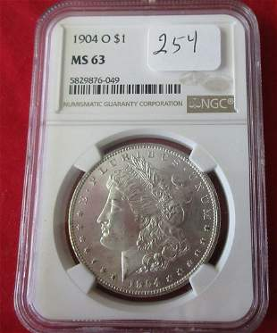 1904 O MS63 NGC graded Morgan silver dollar