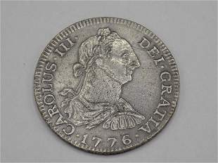 1776 FM Spanish Silver 8 Reales US Colonial Pirate Coin