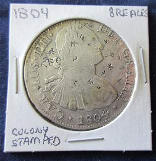 1804 Spanish Silver 8 Reales US Colonial Pirate Coin
