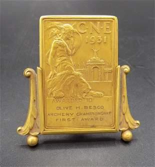 Neat vintage 1931 Bronze plaque Archery award