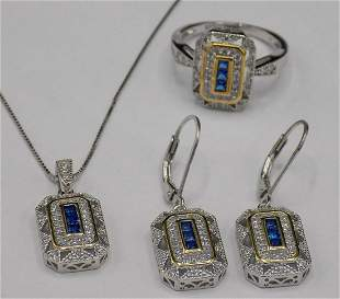 Beautiful sapphire & topaz sterling set, ring, earrings