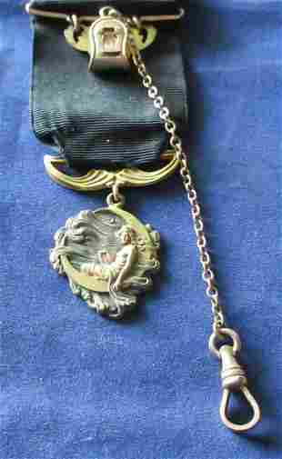Superb Art Nouveau watch fob with lady in the