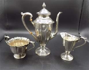 3 piece Art Deco sterling tea set
