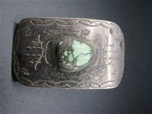 Vintage Native American Indian turquois belt buckle