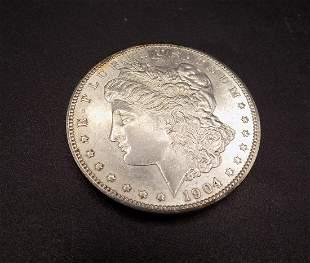 Uncirculated 1904 O Morgan silver dollar
