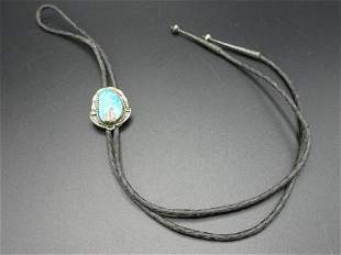 Vintage Native American Indian pawn turquois bolo tie