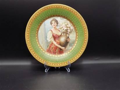 Pretty lady with flowers decorated tin plate