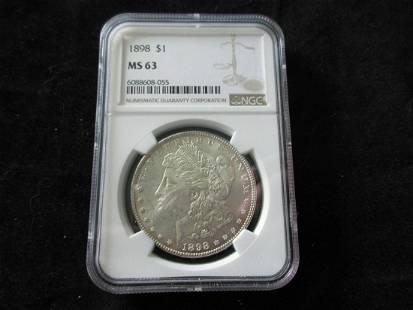 1898 NGC MS63 Graded Morgan silver dollar
