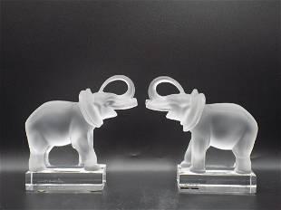 Wonderful pair of signed Lalique art glass elephants