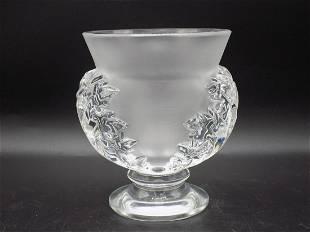 Beautiful signed Lalique art glass St. Cloud vase