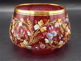 Splendid Victorian Moser art glass bowl