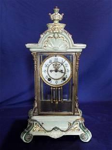 Rare Ansonia china Crystal Regulator Mantle Clock