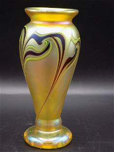 Lovely signed Orient and Flume art glass vase
