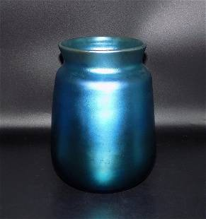 Exquisite signed blue Steuben iridescent art glass vase