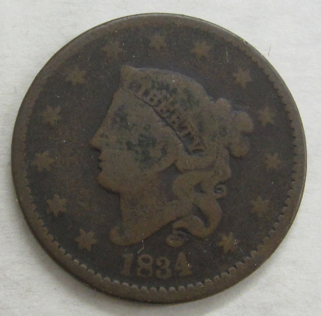 1834 large cent. In condition as shown in photos, From