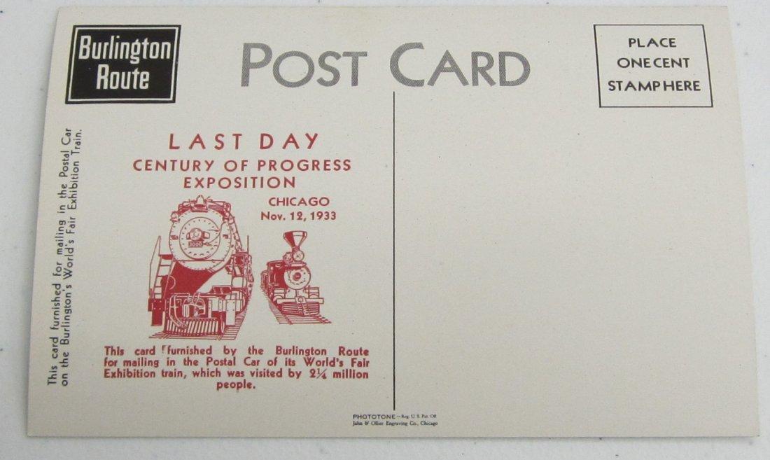 4 unused Postcards Railroad Last day century of progres