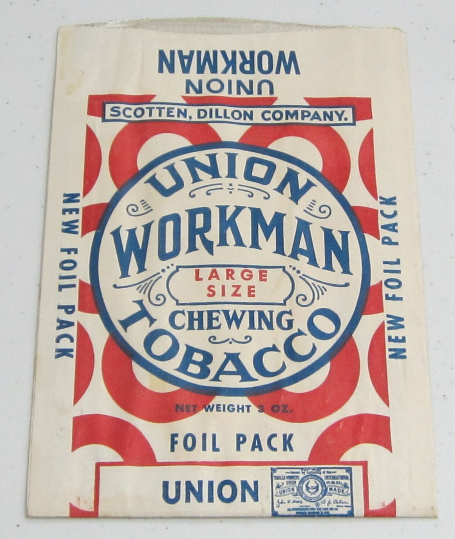 Union Workman Chewing tobacco Foil Pouches, unused