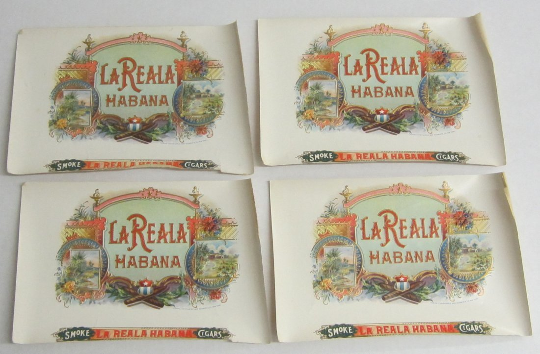 4  vintage unused cigar labels  La Reala Habana, early