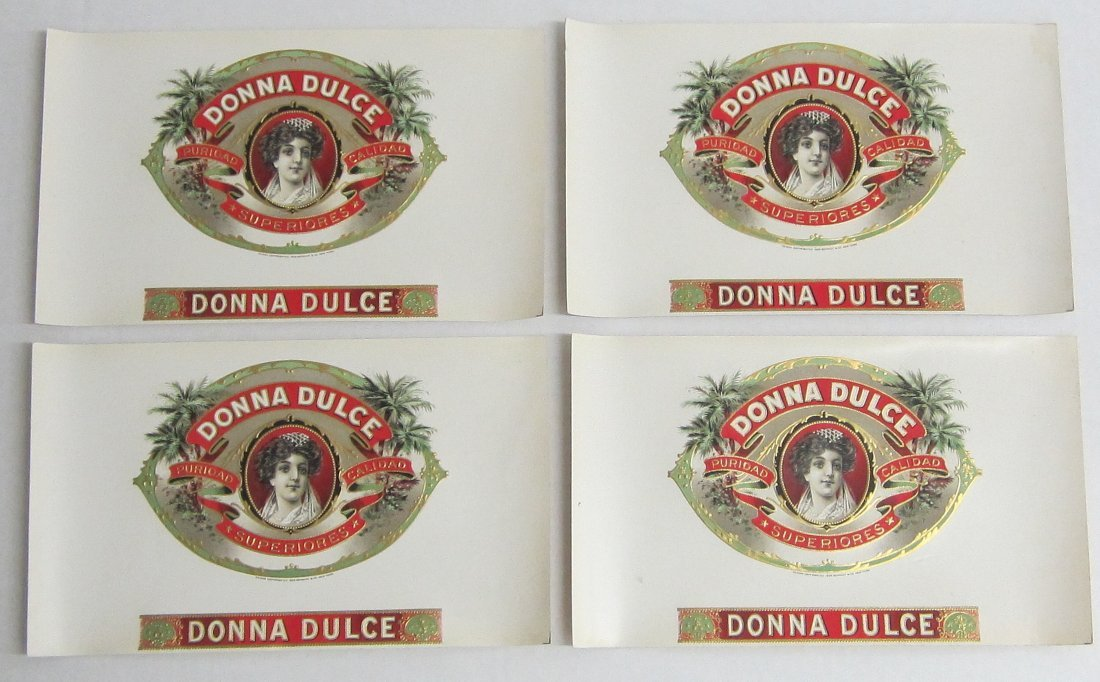 4  vintage unused cigar labels with lady, Donna Dulce,