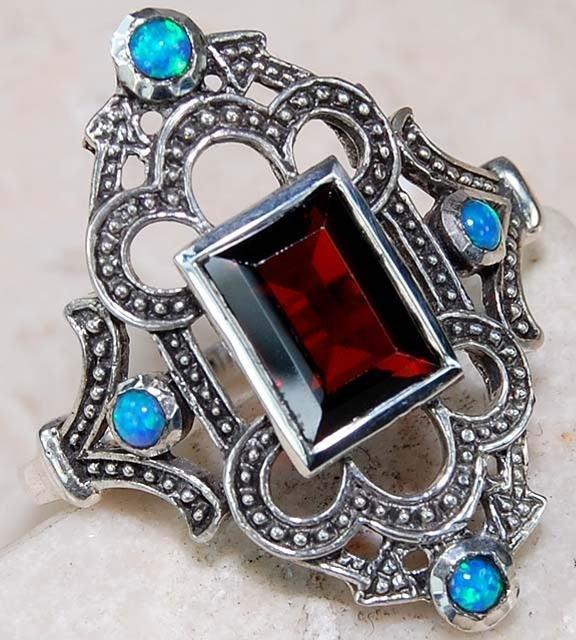 2CT Natural Garnet & Opal .925 Sterling Filigree Ring