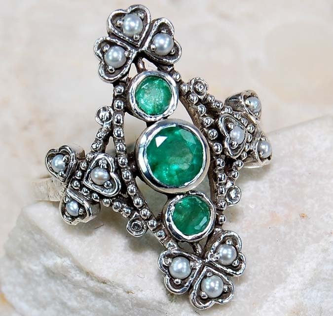 Genuine Emerald, Seed Pearl 925 Sterling Filigree Ring