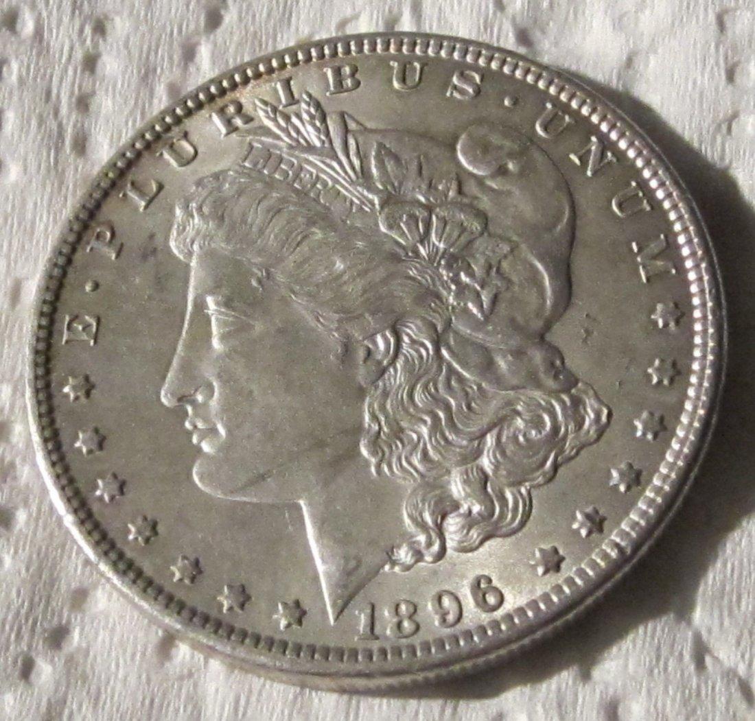 Beautiful 1896 AU/BU Morgan Silver dollar. See photos