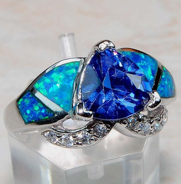 Blue Sapphire, Australian Opal & White Topaz  Sterling