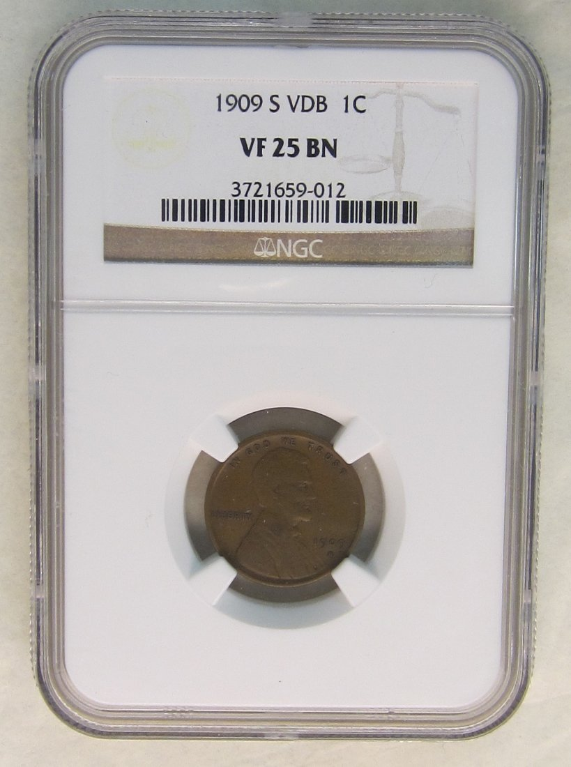 1909 S VDB Lincoln Penny  NGC graded VF-25--  From