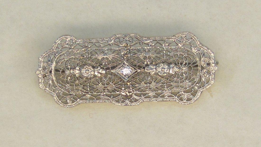 Fancy Victorian 10 K   - 1.5 CT. Diamond  Broach.