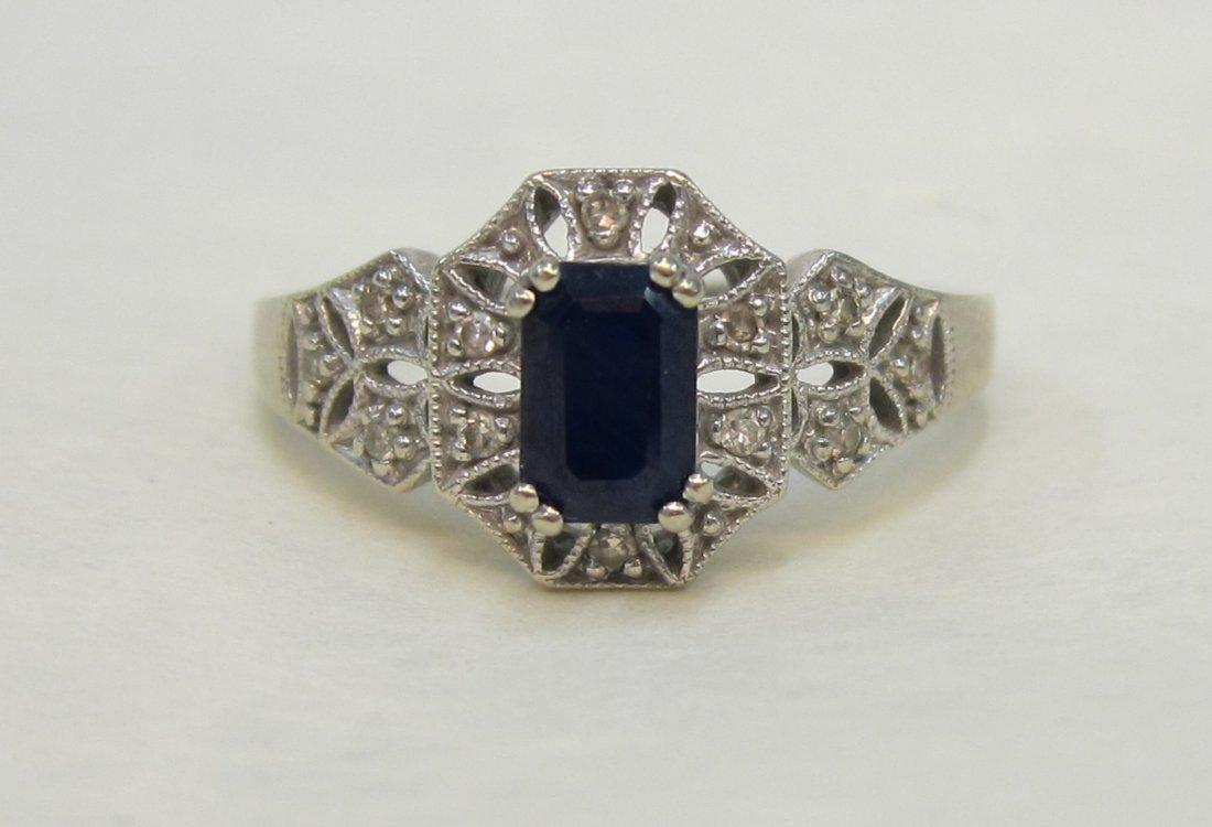 Beautiful 10 K GOLD  , 1/2 CT. Sapphire & Diamond ring