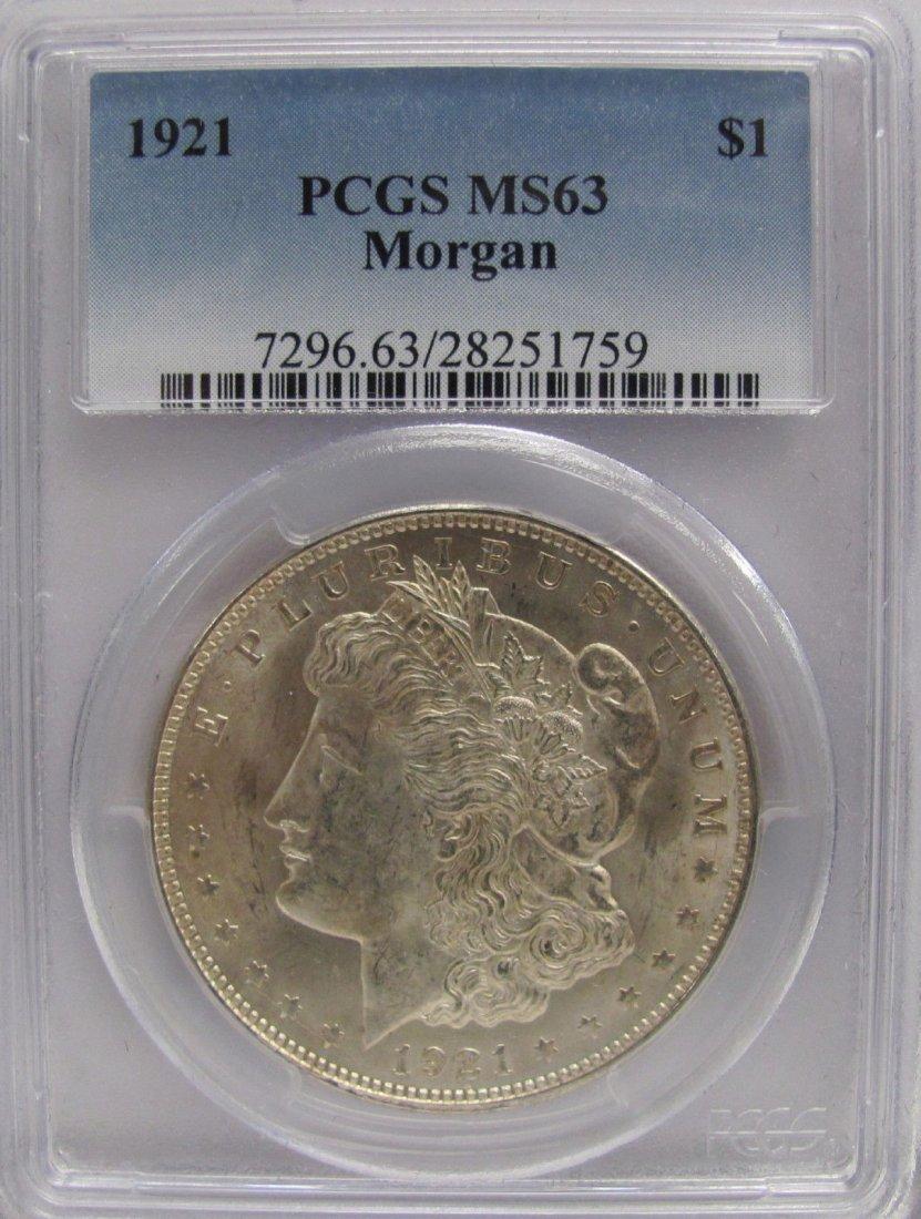 1921 P Morgan Silver Dollar Coin PCGS MS 63