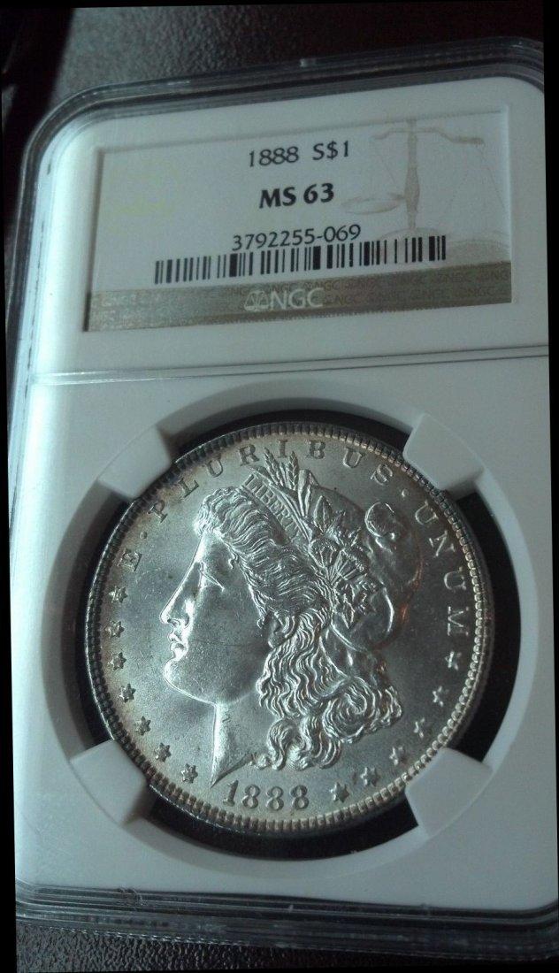 1888 $1 Morgan Silver Dollar MS63, NGC graded