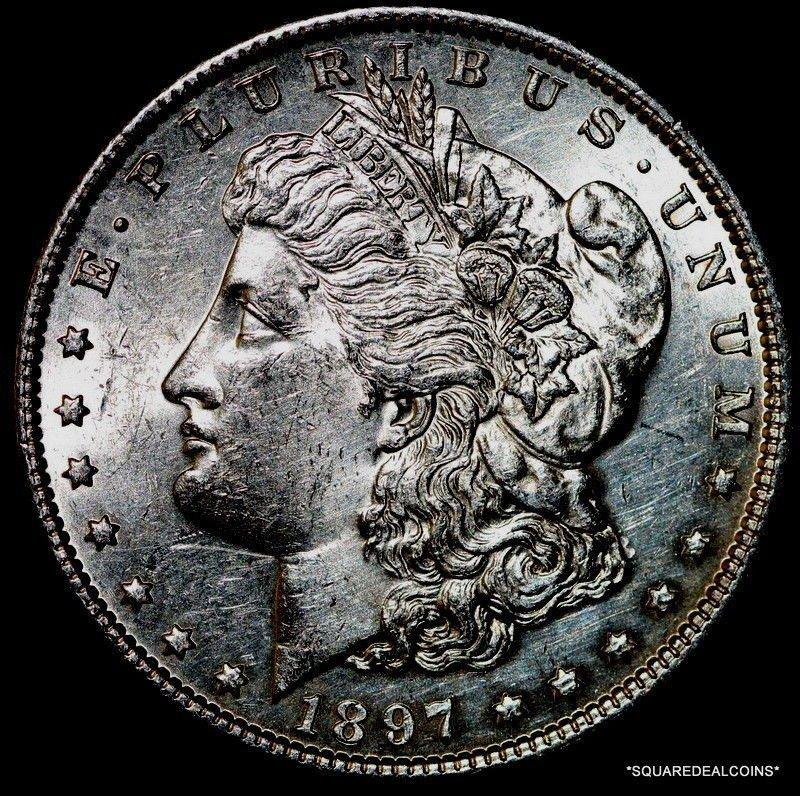 Au/Bu  1897-P Choice High Grade Morgan Silver Dollar