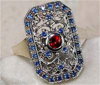 Fire Garnet & blue sapphire 925 Solid Sterling Silver